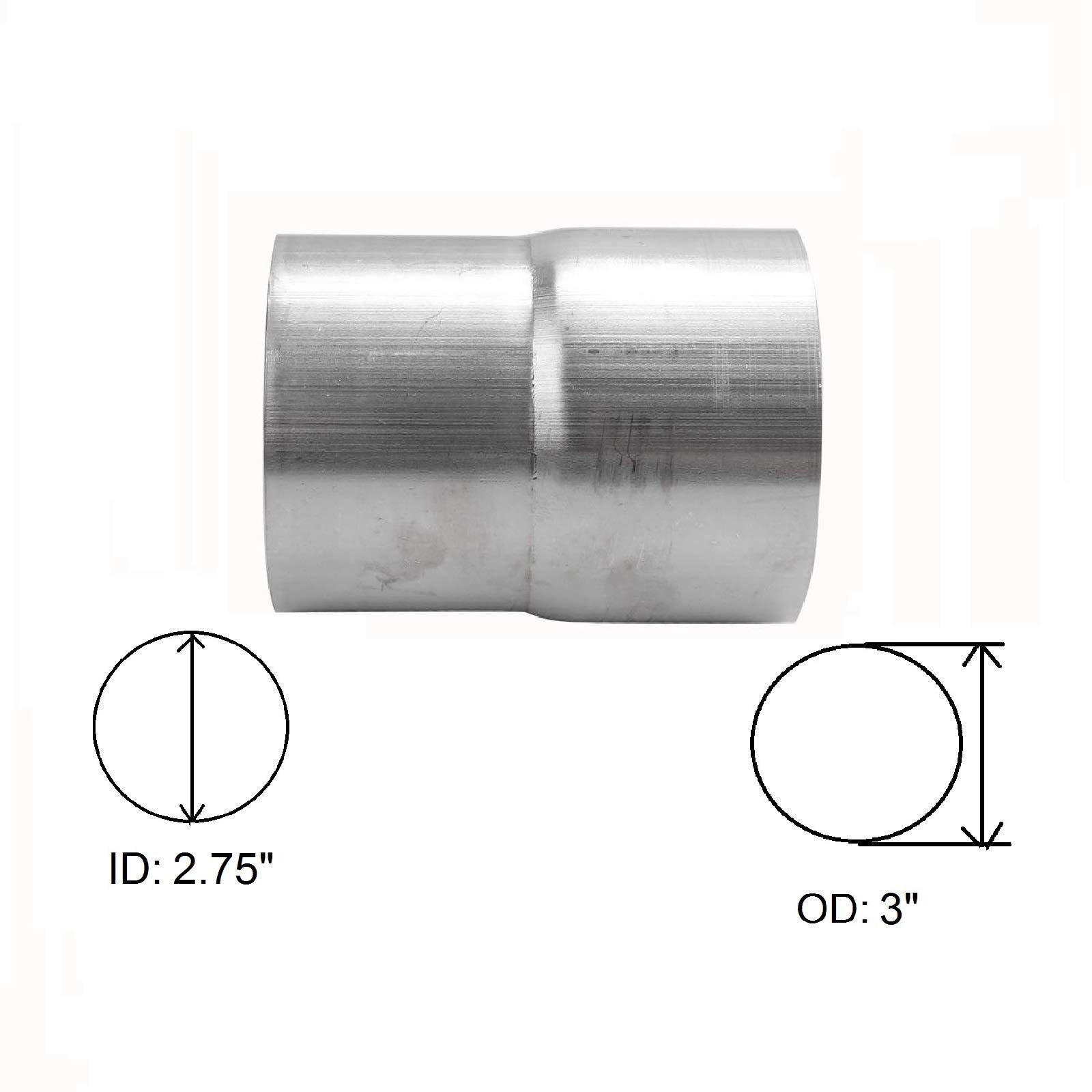 """BETTERCLOUD Universal 2.75"""" ID to 3"""" OD Exhaust Pipe Adapter Connector Reducer Mild Steel"""