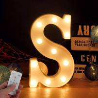 Merry Christmas Alphabet LED Letter Light with Remote Control & Battery Powered for Night Light Wedding Birthday Party Christmas Lamp Home Bar Decoration (Letter-S)