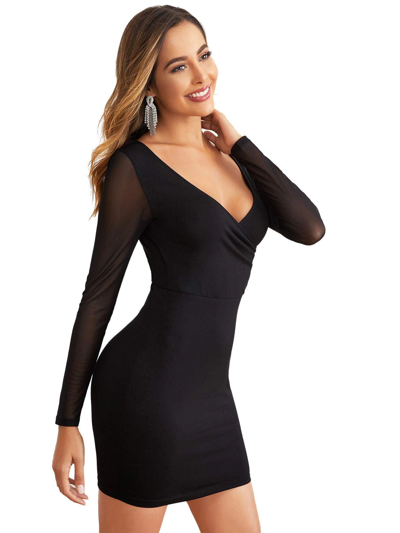 Romwe Women's Elegant V-Neck Mesh Long Sleeve Sexy Party Work Bodycon Wrap Pencil Dress