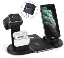 ZHOUBIN Wireless Charger Stand, 4 in 1 Charging Dock Charge with 2 Phones/AirPods/iWatch Simultaneously, QI Wireless Charging Station for iPhone 11/11Pro/11Pro Max/X/XS/XR/Max/8/8 Plus, Samsung S9/S8