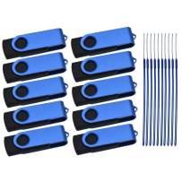 USB Flash Drive Pack of 100 32GB Thumb Drives Bulk Portable Jump Drive Blue 32 GB USB 2.0 Memory Stick Swivel Pen Drive Metal Zip Drive for Large Profile Data Storage by Kepmem