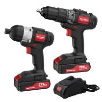 """Meterk 20V Max Cordless Drill Driver and Impact Driver Set, 1/2"""" Chuck Max 35 N.m Drill Driver, 1/4""""Hex Max 150 N.m Impact Driver, 2 pcs Lithium-Ion Batteries and 1 Hr Fast Charger"""