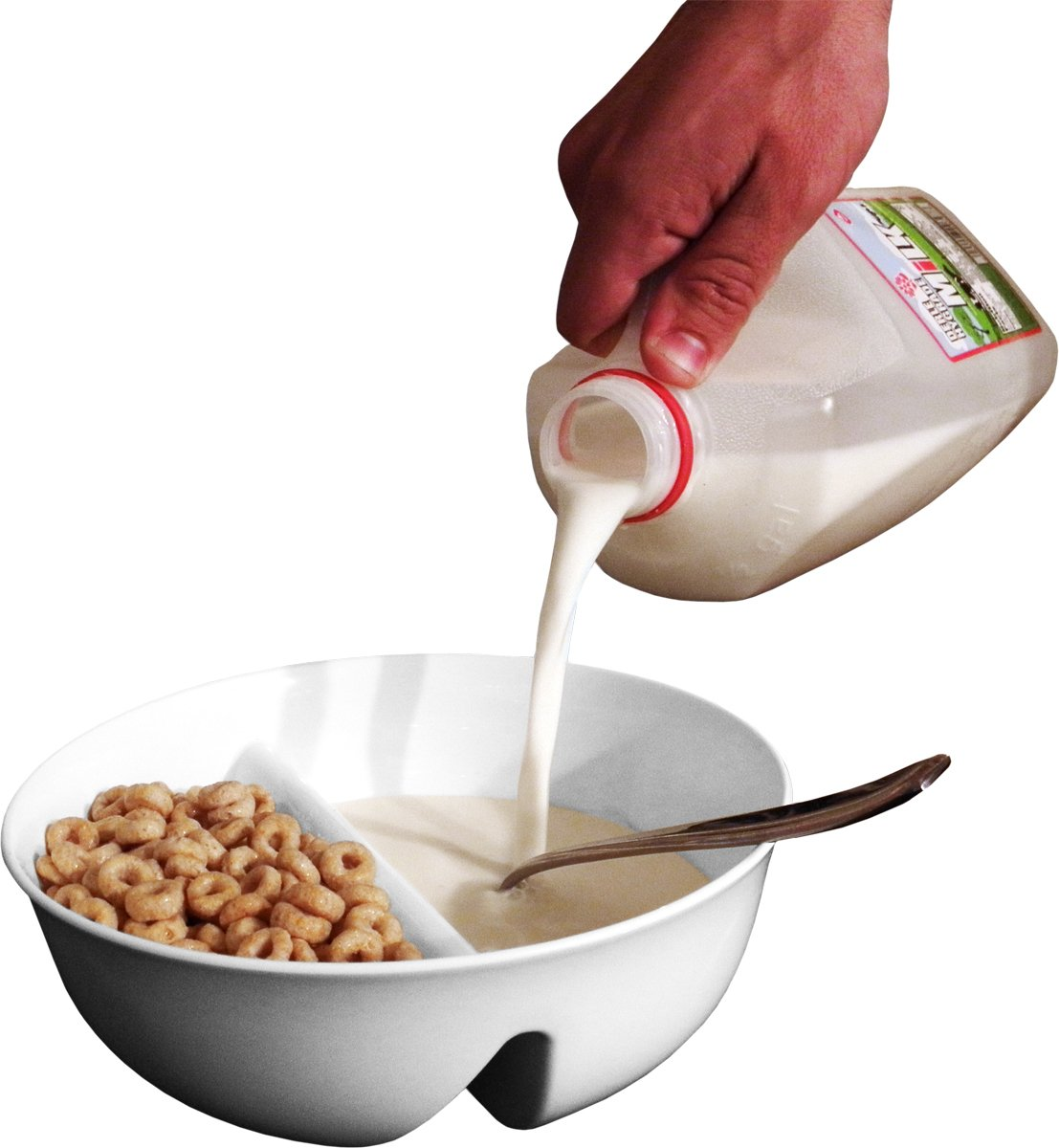 Just Crunch Anti-Soggy Cereal Bowl - Keeps Cereal Fresh & Crunchy   BPA Free   Microwave Safe   Ice Cream & Topping, Yogurt & Berries, Fries & Ketchup and More – White