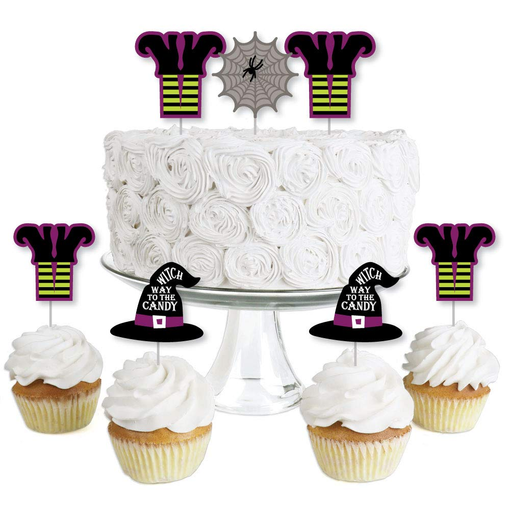 Big Dot of Happiness Happy Halloween - Dessert Cupcake Toppers - Witch Party Clear Treat Picks - Set of 24