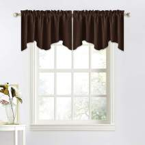 NICETOWN Room Darkening Curtain Valances - 52 inches Width by 18 inches Length Rod Pocket Privacy Valance Window Dressing for Kitchen/Bay Window/Nursery/Boys Bedroom (Toffee Brown, Double Pieces)