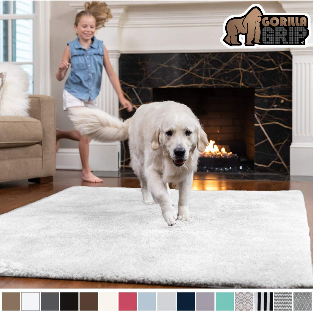 Gorilla Grip Original Faux-Chinchilla Area Rug, 2x4 Feet, Super Soft and Cozy High Pile Washable Carpet, Modern Rugs for Floor, Luxury Shaggy Carpets for Floors, Bed and Living Room, White