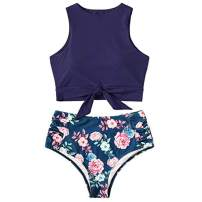Floral Crop Tie Knot Front High Waisted California Bikini Set Hawaii Two Piece Swimsuit for Women