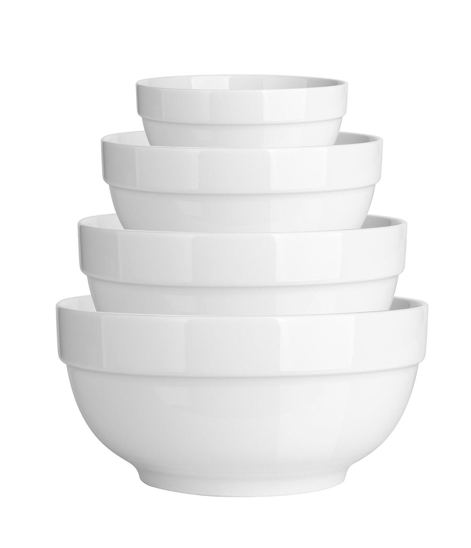 DOWAN 4 Pieces Porcelain Serving Bowl Set, White Bowls, Cereal Bowl Set, Small Bowl Set, Microwave Safe, Ideal for Cereals, Dessert,Soup, Ice Cream