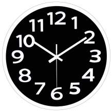 12 Inch Modern Wall Clock Silent Non-Ticking Battery Operated 3D Numbers Bright Color Dial Face Wall Clock for Home/Office Decor,Black