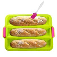 """KeepingcooX Nonstick Silicone Baguette Pan for French Bread Baking 3 Wave Loaves Each Loaf 11""""x2.3"""" Bake Mold Toast Bakers Molding 3 Gutter Oven Toaster Pan Cloche Waves Silicone Sandwich Tray, Green"""