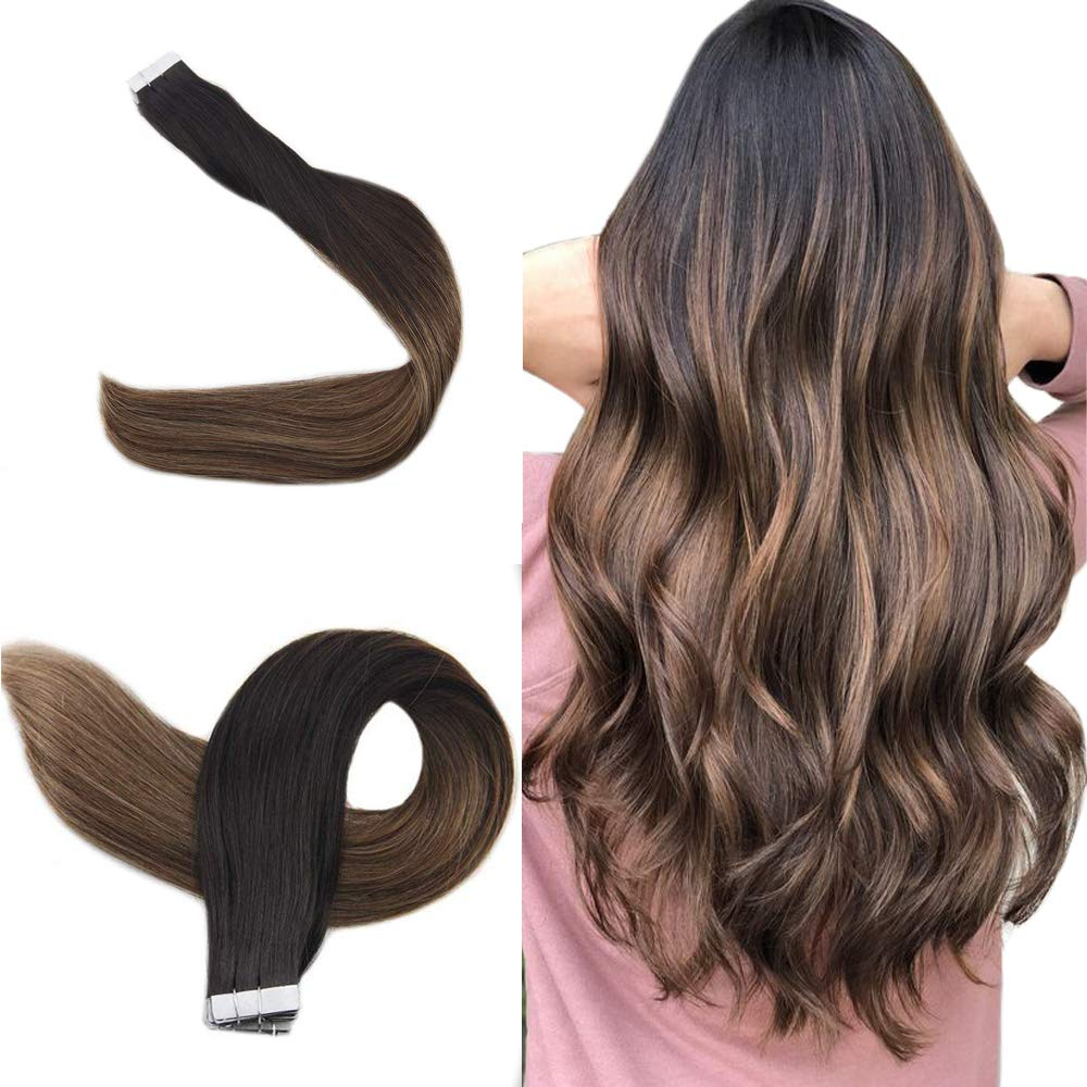 """Easyouth Balayage Tape in Hair Remy Human Hair Color Off Black Fading to Middle Brown Highlights with Honey Blonde -12"""", 30g/Pack - Human Hair Tape on Extensions Skin Weft for Women"""