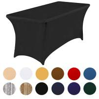 8ft Stretch Table Cover for Rectangle Tables for Wedding Party Banquet Meeting Tablecloth for Standard Folding Tables (Black, 96x30x30 inch)
