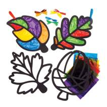 Baker Ross Leaf Stained Glass Decoration Kits, Fall and Winter Arts and Crafts (Pack of 6)