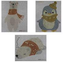 Mixed Winter Animals On Gray Set of 3 Swedish Dishcloths (One of Each Design) | ECO Friendly Absorbent Cleaning Cloth | Reusable Cleaning Wipes