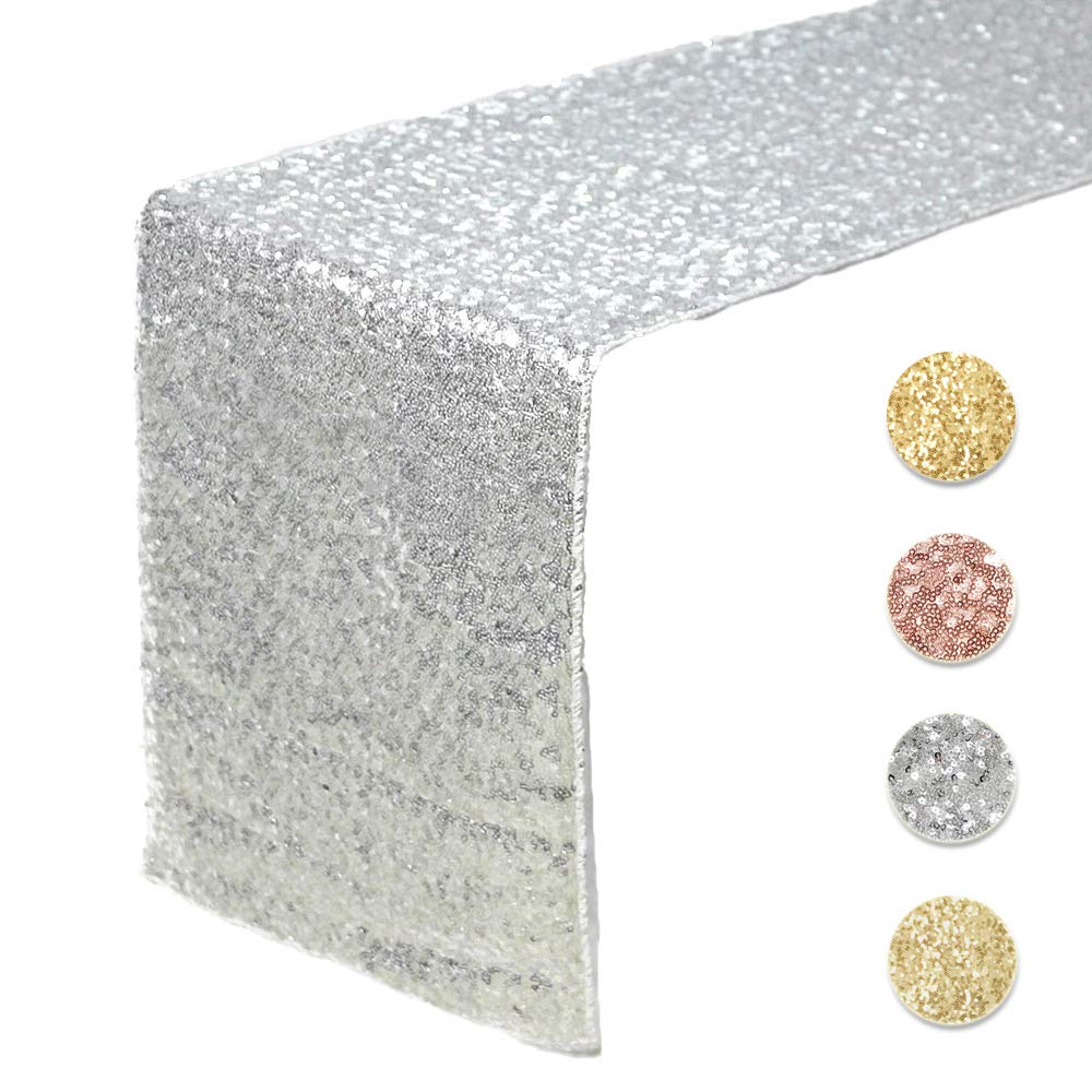 Sequin Table Runners SILVER- 12 X 108 Inch Glitter SILVER Table Runner-SILVER Party Supplies Fabric Decorations For Holiday Christmas Gift Wedding Birthday Baby Shower