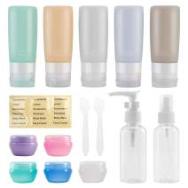 Beveetio Travel Bottles TSA Approved 15 Pack,2.9oz Silicone Refillable Travel Size Containers, BPA Free Travel Tubes Toiletries for Cosmetic Shampoo Cream Conditioner Lotion Soap Travel Accessories