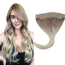 "LaaVoo 18 Inch Wire No Clip 100% Real Remy Human Hair Halo on Hair Balayage Ash Blonde Mixed Platinum Blonde Adjustment of Invisible Wire in Hair Extensions for Ladies Total 80Gram 11"" Width"