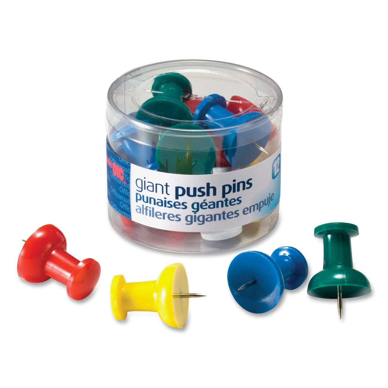 Officemate Giant Push Pins 1.5 Inch, Assorted Colors, Tub of 12 (92902)