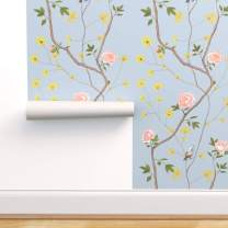 Spoonflower Peel and Stick Removable Wallpaper, Chinoiserie Bird Florals Blue Asian French Birds Peonies Floral Flowers Print, Self-Adhesive Wallpaper 12in x 24in Test Swatch