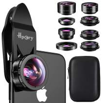Hpory Phone Lens Kit 9 in 1, Universal Cell Phone Camera Lens for iPhone X/8/7/6/plus & Most Smartphone 0.63X 0.36X Super Wide Lens 15X 20X Macro Lens 198° Fisheye CPL Kaleidoscope Starburst 2X Lens