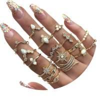 FUTIMELY 17PCS Boho Crystal Knuckle Stacking Rings Set Gold Vintage Stackable Joint Midi Finger Rings Set for Women Girls