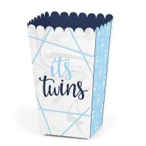 It's Twin Boys  - Blue Twins Baby Shower Favor Popcorn Treat Boxes - Set of 12
