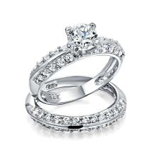 Simple 2.5CT Cubic Zirconia Round Solitaire Pave Band AAA CZ Engagement Wedding Ring Set 925 Sterling Silver