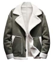 SCOFEEL Men's Faux Fur Collar Suede Jacket Sherpa Fleece Lined Coat Thickened Warm Jacket