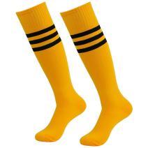 diwollsam Unisex Soccer Socks, Sport Long Tube Knee High Stripes Football Volleyball Baseball Team Uniform Socks 2 Pairs