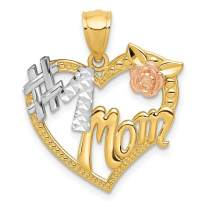 14k Two Tone Yellow Gold White #1 Mom Heart Pendant Charm Necklace Love S/love Message Fine Mothers Day Jewelry For Women Gifts For Her