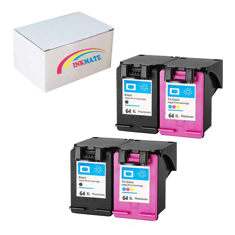 INKMATE Re-Manufactured Ink Cartridge Replacement for HP 64XL for HP Envy Photo 6252 7158 7855 7858 (2Black/2Tri-Color, 4Pack)