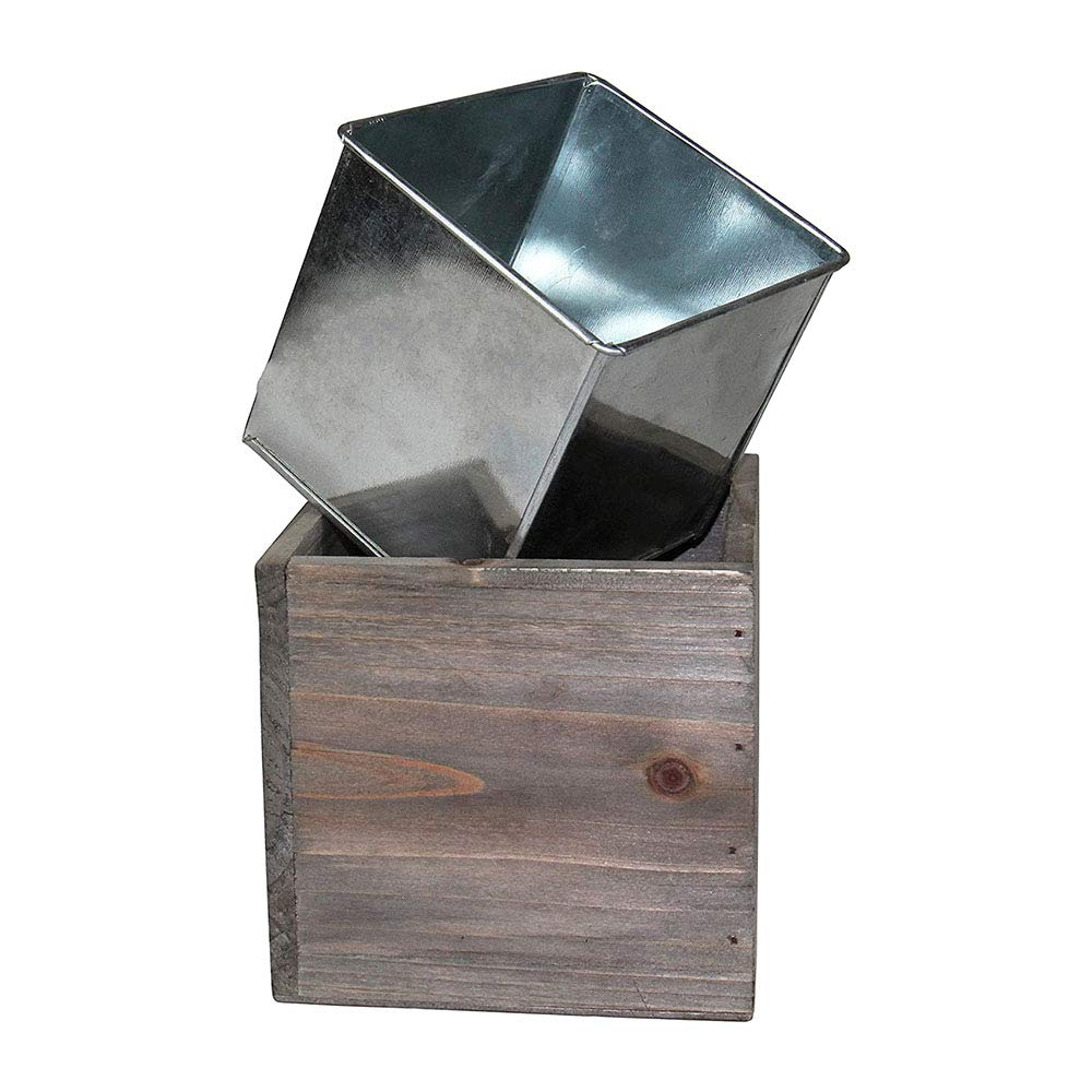 "CYS EXCEL 4"" Cube Planter Box with Removable Zinc Liner (Pack of 1) 