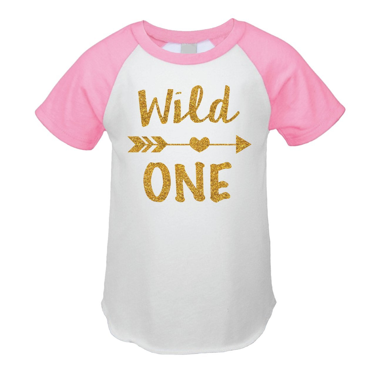 First Birthday Outfit Girl Wild One Birthday Girl T-Shirt (12 Months Pink Raglan)