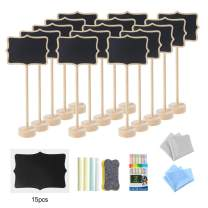 MXCELL Mini Chalkboard Signs,with Stand Small Tabletop Message Board Signs with Easel for Party Food Wedding 15 Pcs