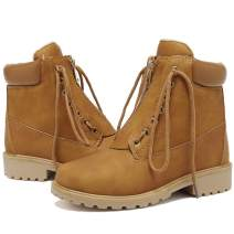 MORNISN Work Boots for Women Lace Up Low Heel Combat Boots Outdoor Waterproof Winter Snow Boots