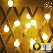 YOZATIA Globe String Lights Battery Operated Warm White Waterproof, 2 Pack 19.7ft 40 LED Globe Fairy String Lights 8 Modes with Remote Control, Perfect for Indoor, Outdoor, Bedroom, Party, Christmas