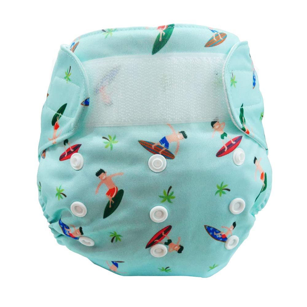 Cheekaaboo Adjustable Reusable Swim Diaper Cloth Diaper Potty Training Pants for Baby and Toddler, 6-36 Months, Light Blue/Surfer