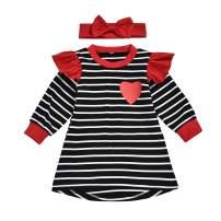 Toddler Little Baby Girl Valentines Day Outfit Ruffle Long Sleeve Love Heart Tops+Suspender Skirt Dress Set
