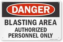 """SmartSign """"Danger - Blasting Area, Authorized Personnel Only"""" Sign 