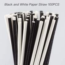 ZOOYOO Black and White Paper Straw 100pcs