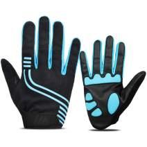 FLYILY Men's Cycling Gloves Full Finger Mountain Bike Gloves, Gel Padded Half Finger Road Racing Gloves Refective Pattern