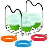 Silicone Egg Bites Mold Steamer Rack Trivet and Egg Rings - Sous Vide Egg Poacher for Instant Pot, Microwave and Stove Top - Reusable Storage Container and Freezer Tray with Lid