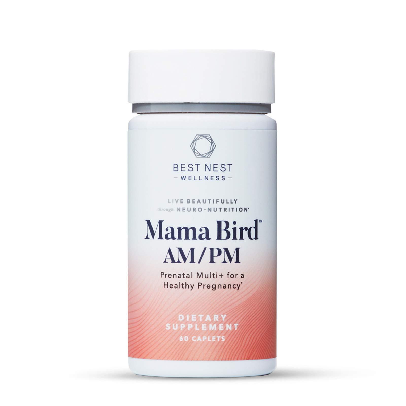 Mama Bird AM PM Prenatal Multi+, Methylfolate (Folic Acid), Methylcobalamin, Choline, Natural Whole Food Organic Herbal Blend, Vegan, Twice Daily Vitamin, Immune Support, 60 Ct, Best Nest Wellness
