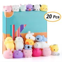 KUUQA 20 Pcs Kawaii Animal Mochi Squishies Toys Cat Rabbit Panda Squishies Squeeze Stress Relief Balls Toys Easter Egg Fillers Toys for Kids Birthday Party Supplies