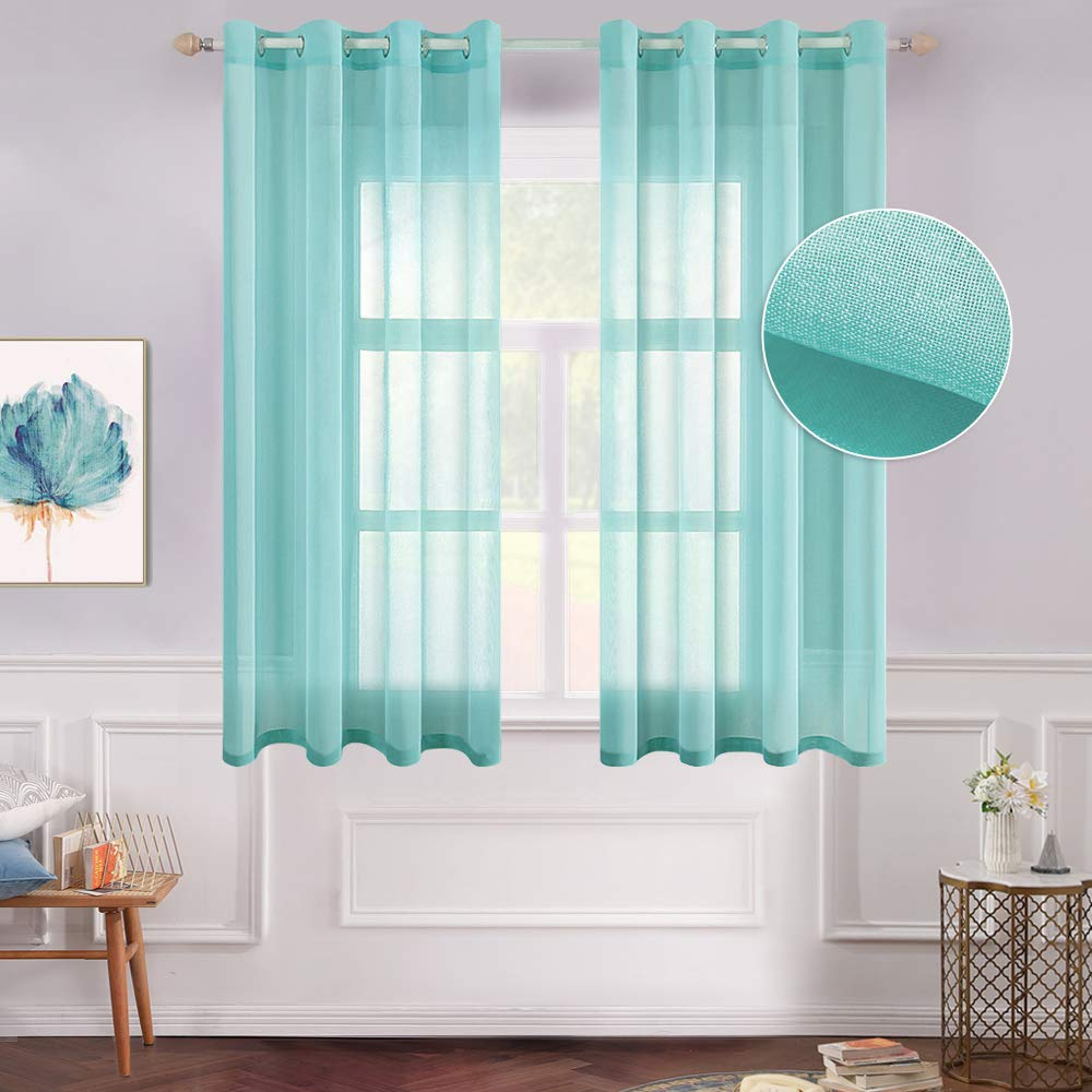MIULEE 2 Panels Turquoise Semi Sheer Window Curtains Elegant Grommet Top Window Voile Panels/Drapes/Treatment Linen Textured Panels for Bedroom Living Room (54X54 Inches)