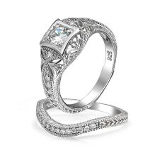 1CT Art Deco Style Solitaire Round Filigree AAA CZ Pave Band Engagement Wedding Ring Set 14K Gold 925 Sterling Silver