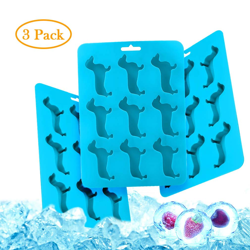Animal Ice Cubes Molds Durable and Dishwasher Safe Ice Tray Novelty Dachshund Dog Shape Molds for Water Bottles,Whiskey,Baby Food, Parties,Freezer(3 pack blue)