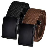 Men's Cut to Fit Golf Belt Casual Outdoor Canvas with Black Military Flip Top Buckle