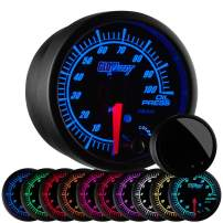 "GlowShift Elite 10 Color 100 PSI Oil Pressure Gauge Kit - Includes Electronic Sensor - Black Dial - Tinted Lens - Peak Recall Function - for Car & Truck - 2-1/16"" 52mm"