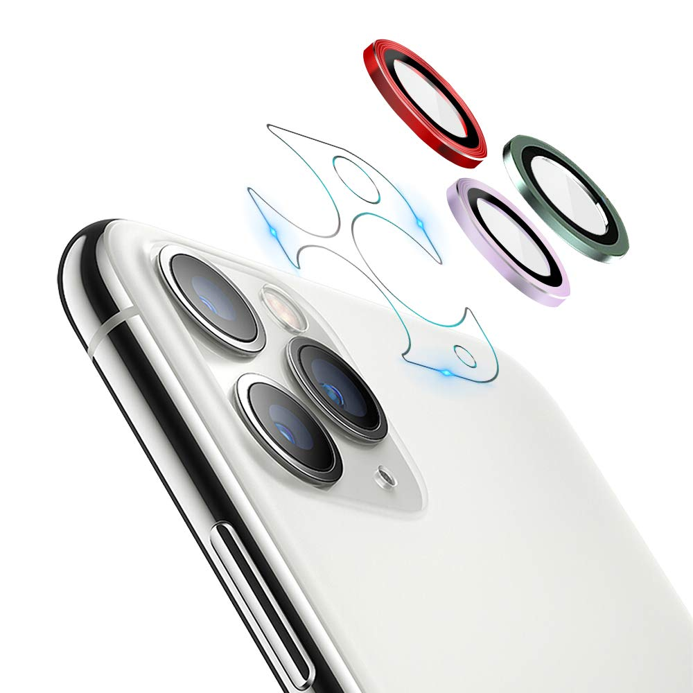 JOLOJO Camera Lens Protector for iPhone 11 Pro(5.8)/Pro Max(6.5),High Definition Anti-Scratch Full Coverage Screen Protector Glass Ring Ultra Thin/Clear [Set of 3] Red-Purple-Green 2019